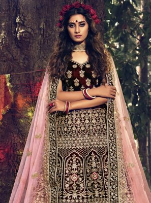 Velvet Wedding Designer Lehenga Choli