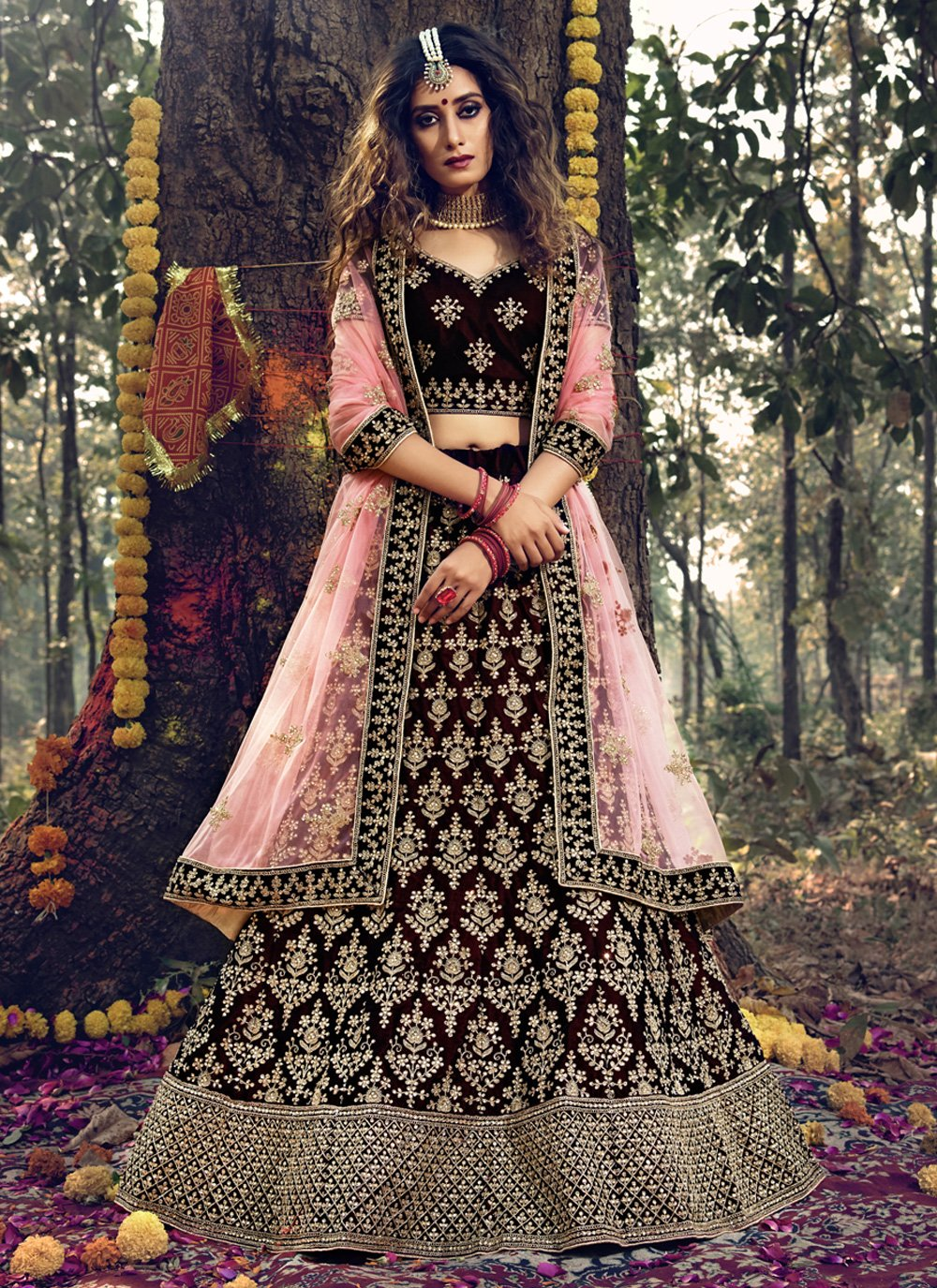 Velvet Wedding Trendy Designer Lehenga Choli