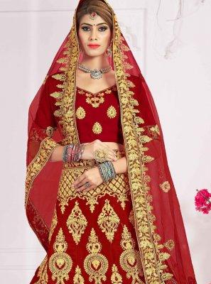 Velvet Zari Red Designer Lehenga Choli