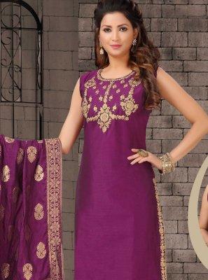 Violet Bhagalpuri Silk Salwar Suit