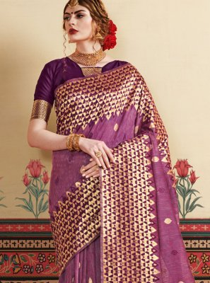 Violet Casual Art Silk Casual Saree