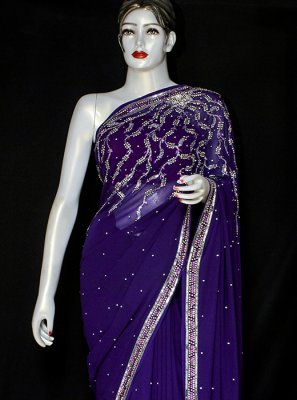 Violet Ceremonial Designer Saree