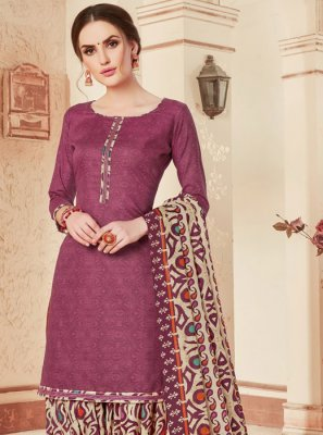Violet Print Cotton Punjabi Suit
