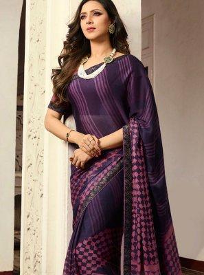 Violet Printed Mehndi Printed Saree
