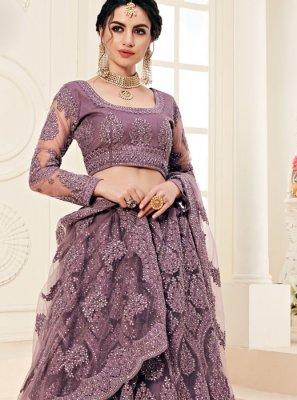 Violet Satin Silk A Line Lehenga Choli