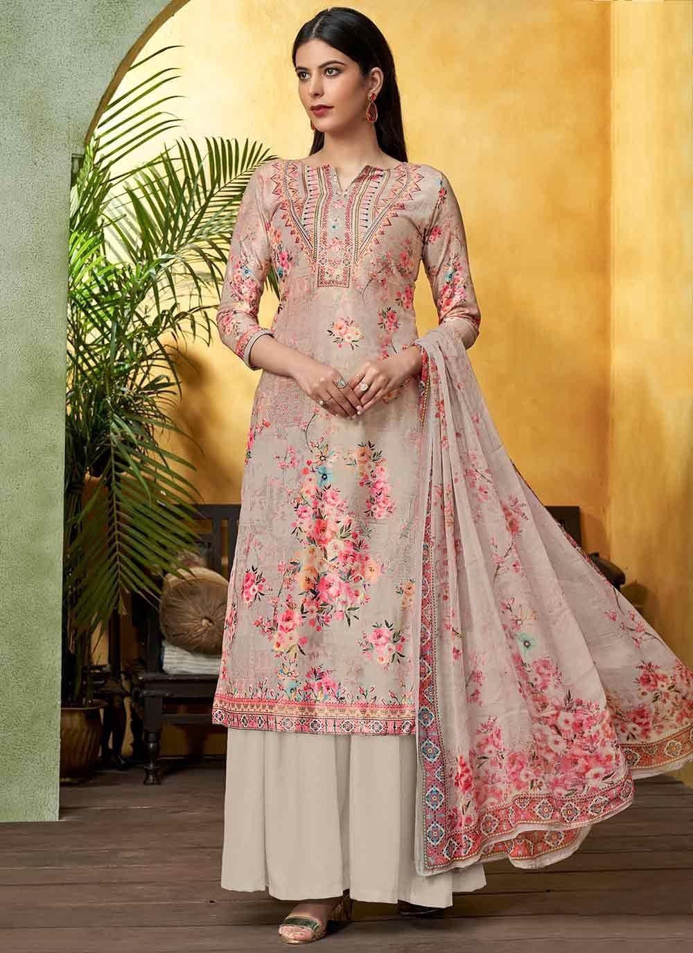 Viscose Beige Digital Print Bollywood Salwar Kameez