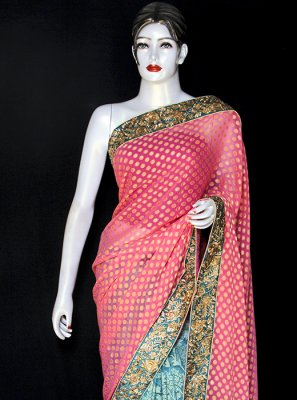 Viscose Designer Saree in Pink and Turquoise