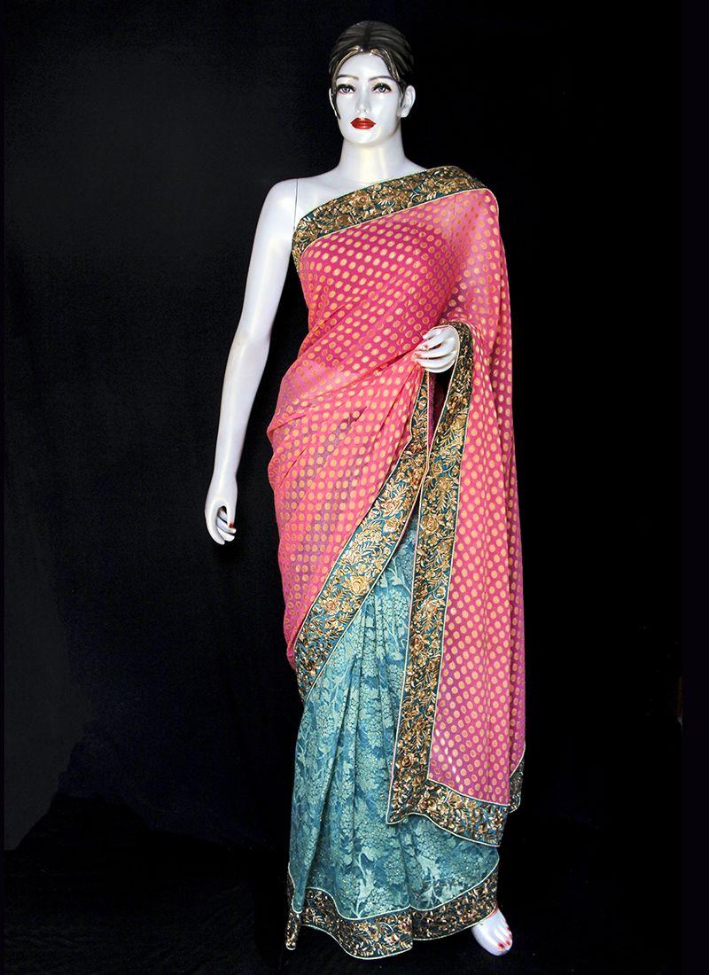Viscose Designer Saree in Pink and Turquoise