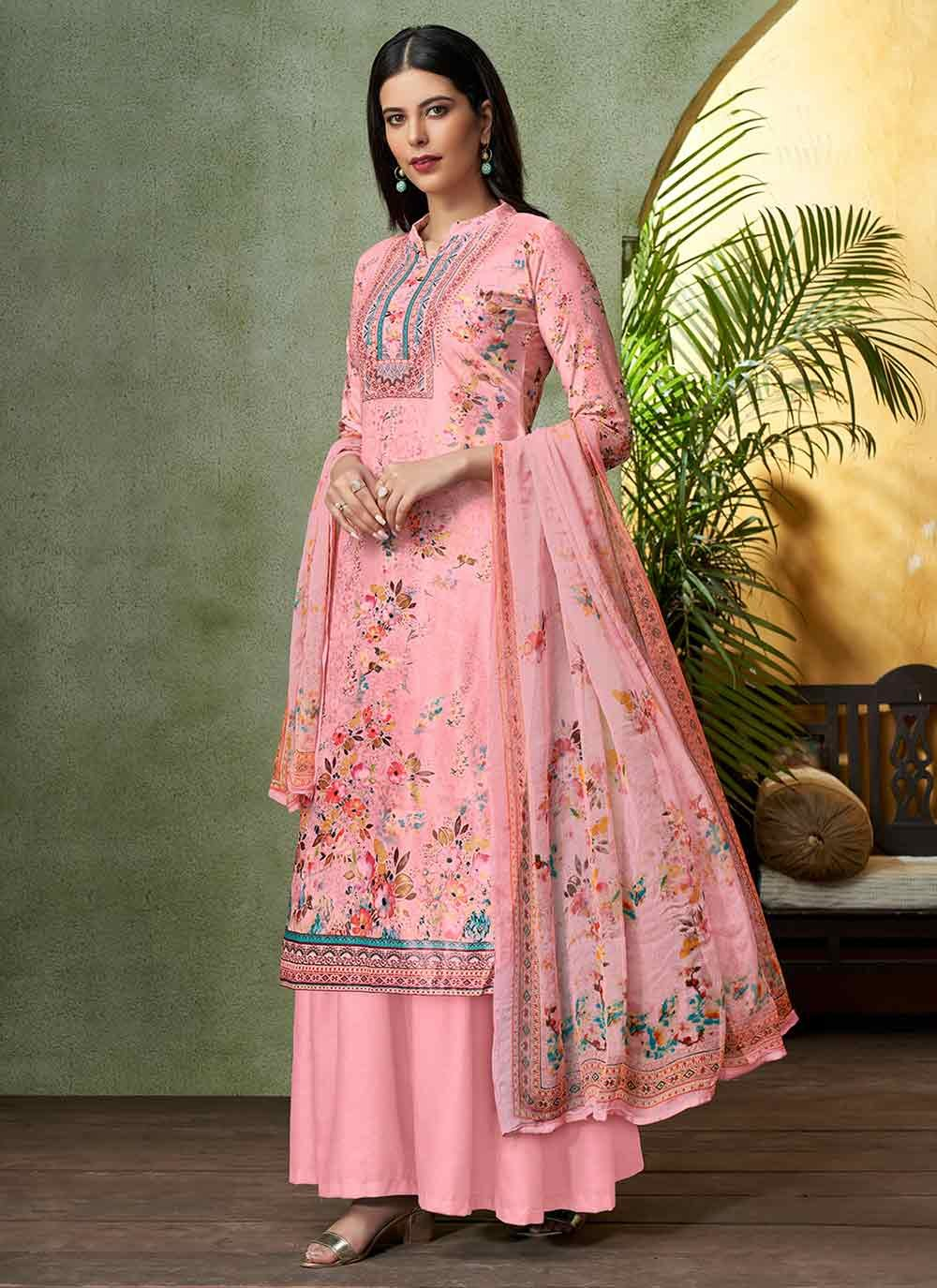 Viscose Digital Print Pink Designer Salwar Suit