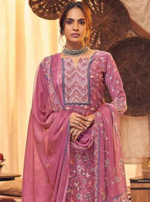 Viscose Digital Print Salwar Suit in Pink