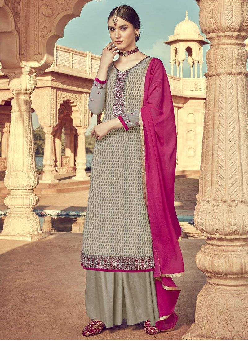 Viscose Embroidered Grey Designer Palazzo Salwar Suit