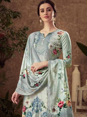 Viscose Grey Digital Print Palazzo Suit