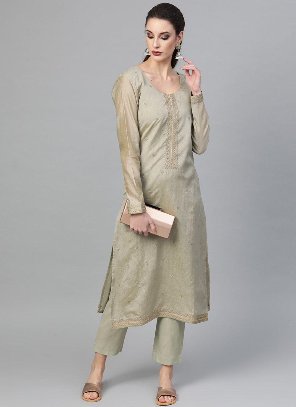 Viscose Grey Plain Pant Style Suit