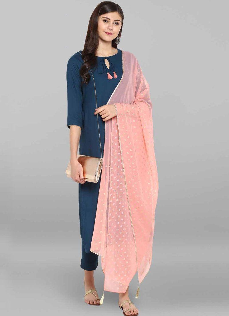 Viscose Navy Blue Salwar Suit