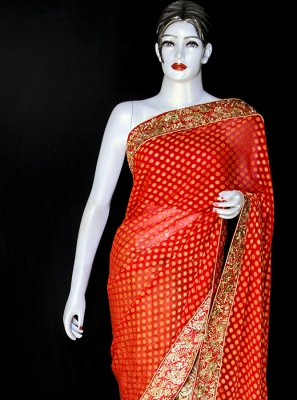 Viscose Orange Designer Saree