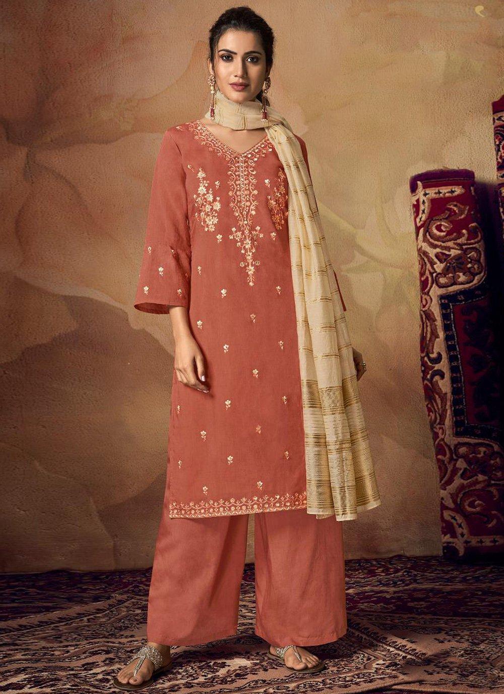 Viscose Orange Resham Salwar Suit