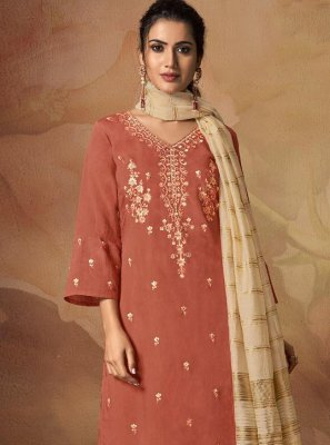 Viscose Orange Resham Salwar Suit