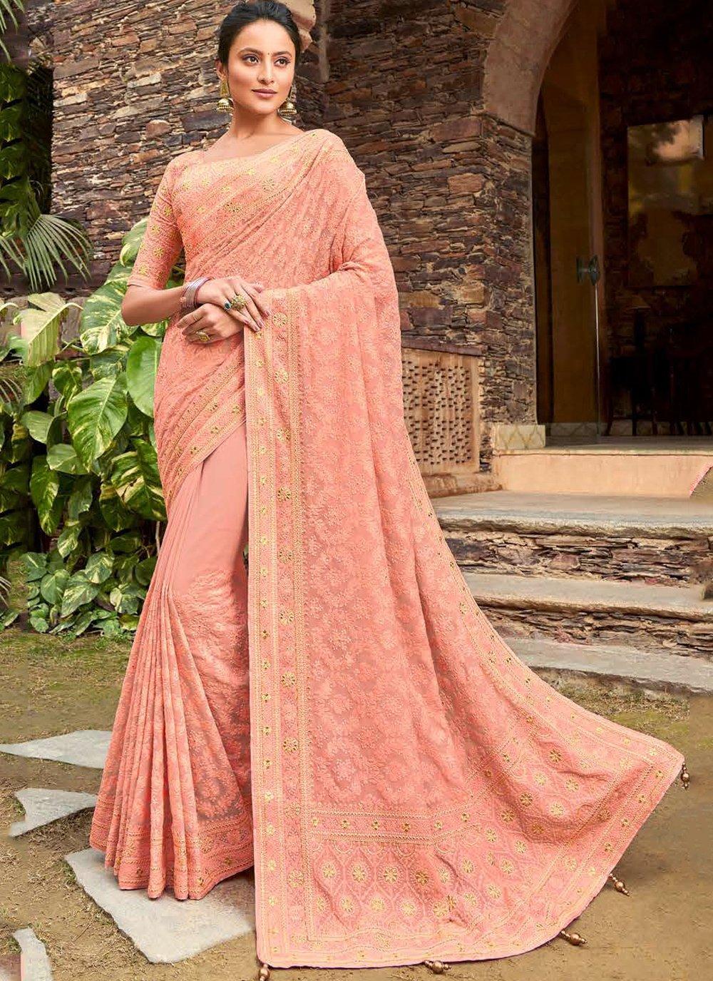 Viscose Peach Designer Bollywood Saree