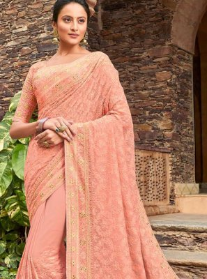 Viscose Peach Designer Bollywood Saree