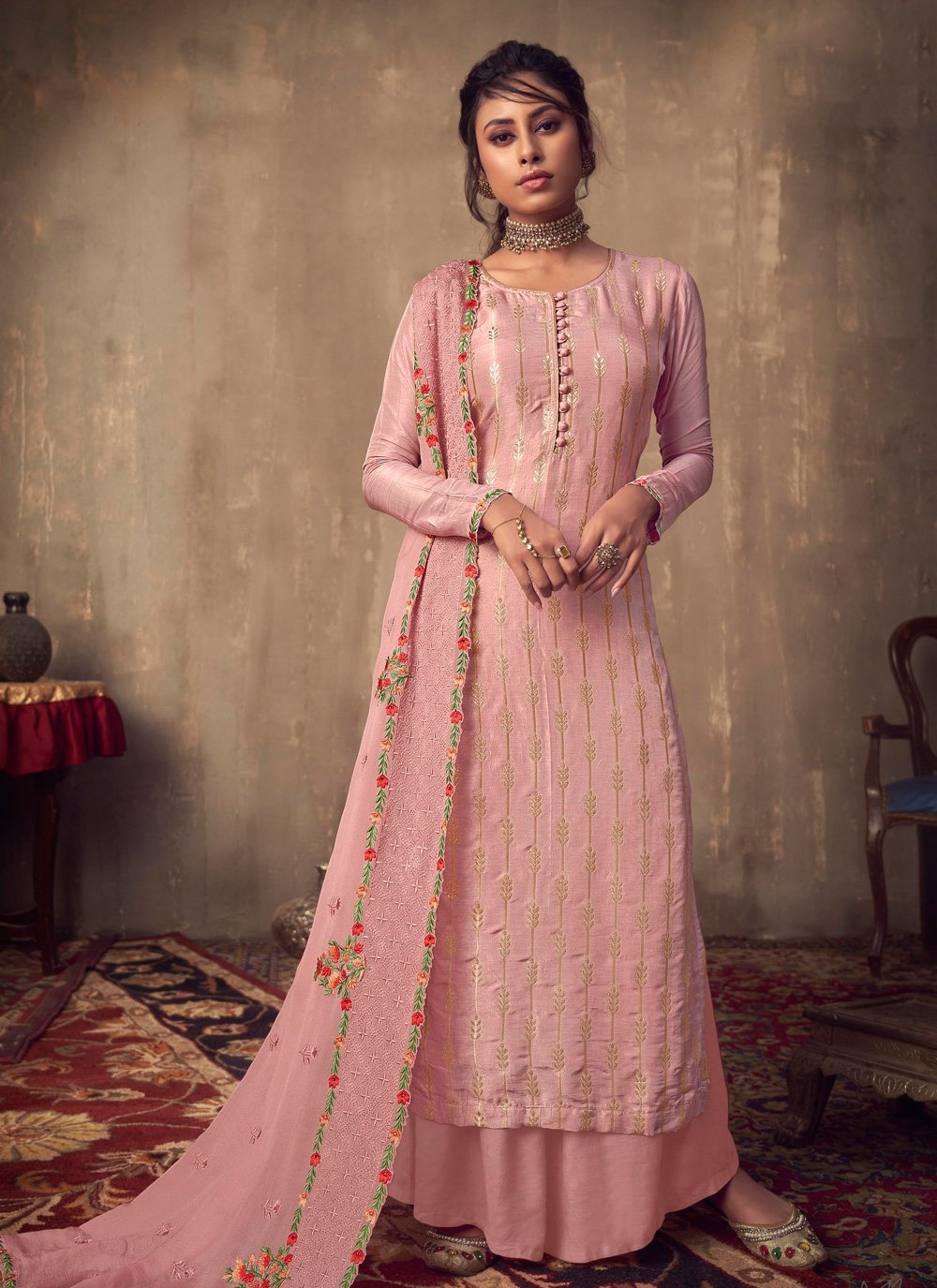 Viscose Pink Embroidered Designer Palazzo Salwar Suit