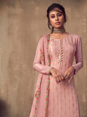 Viscose Pink Embroidered Designer Palazzo Salwar Suit