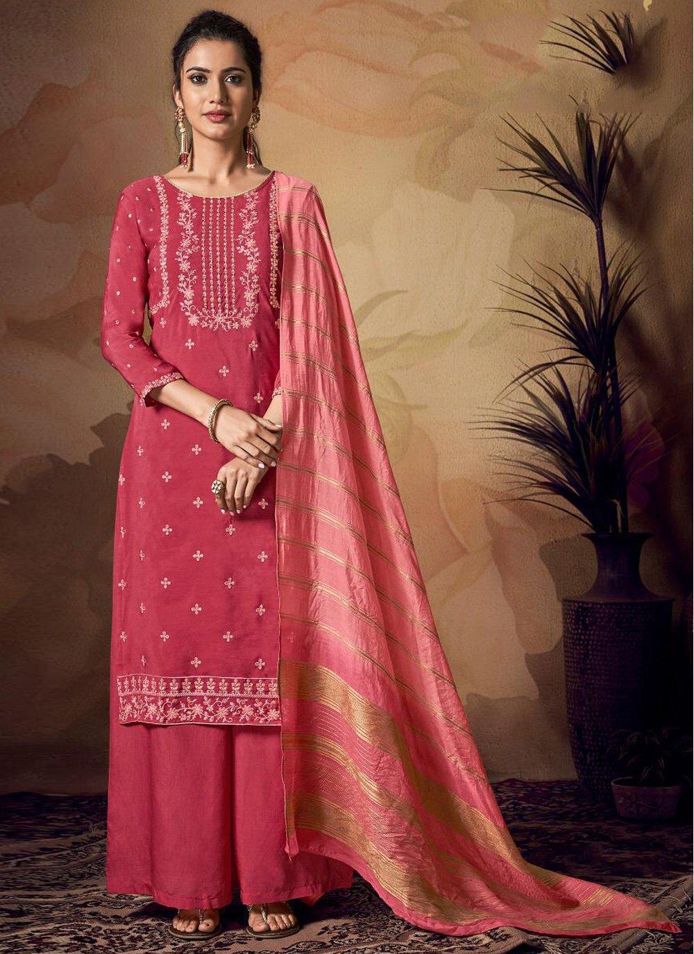 Viscose Pink Resham Salwar Kameez