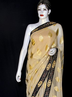 Viscose Printed Designer Saree in Beige