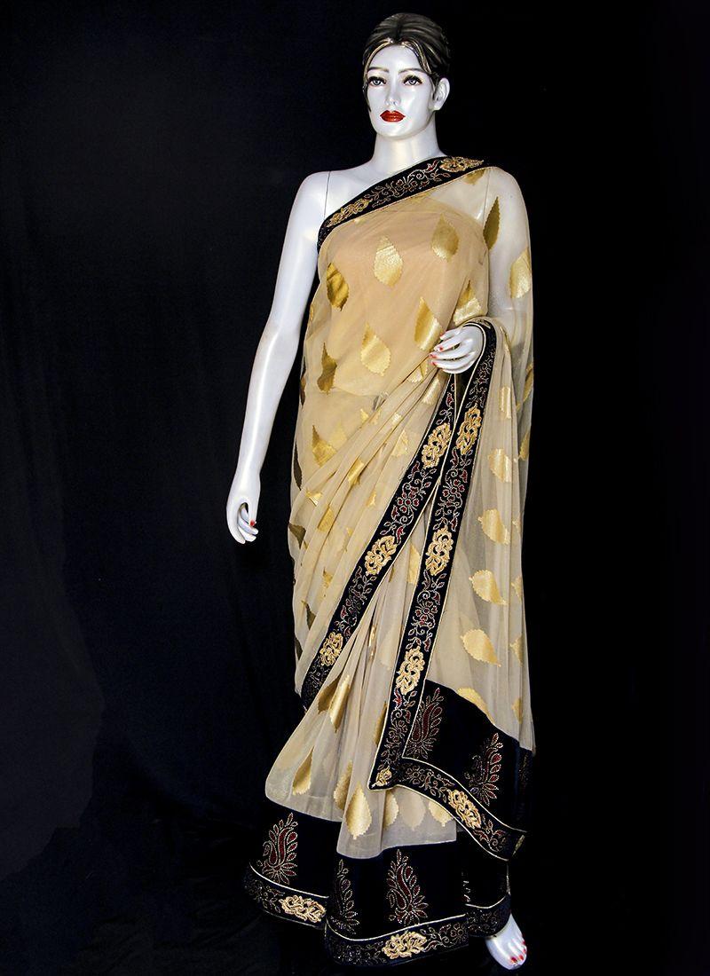 Viscose Printed Designer Saree in Beige