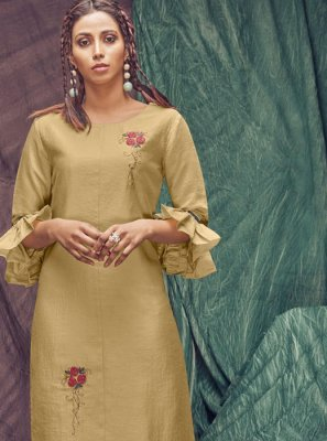 Viscose Thread Gold Designer Kurti