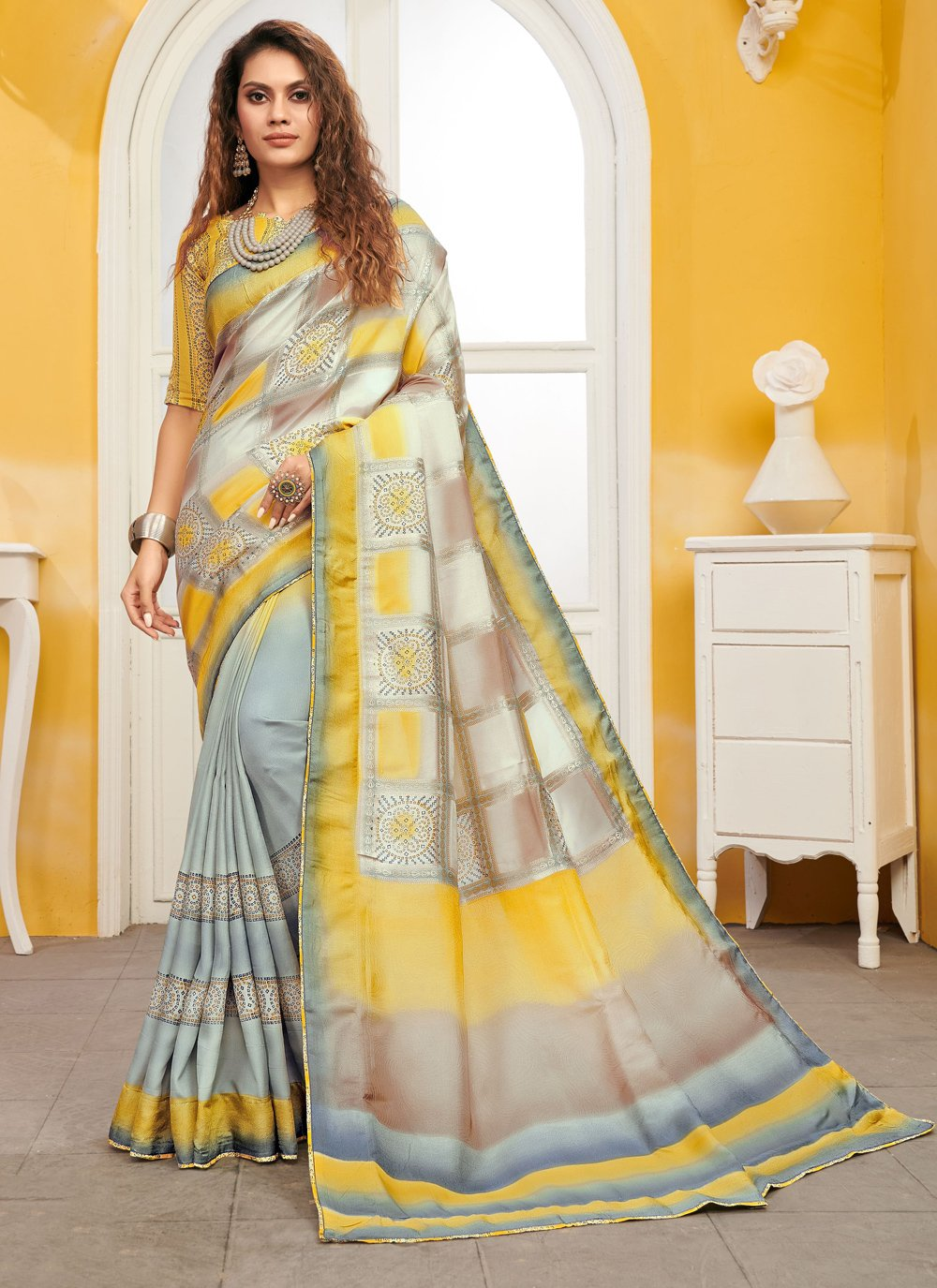 Viscose Weaving Contemporary Saree in Grey and Yellow