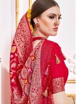 Viscose Weaving Red Designer Contemporary Saree