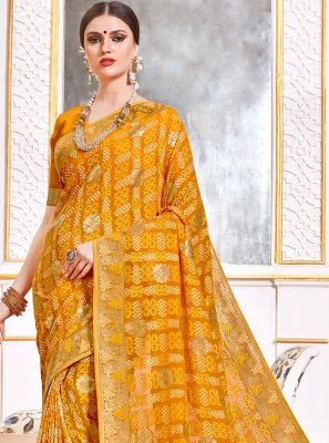 Viscose Yellow Weaving Trendy Saree