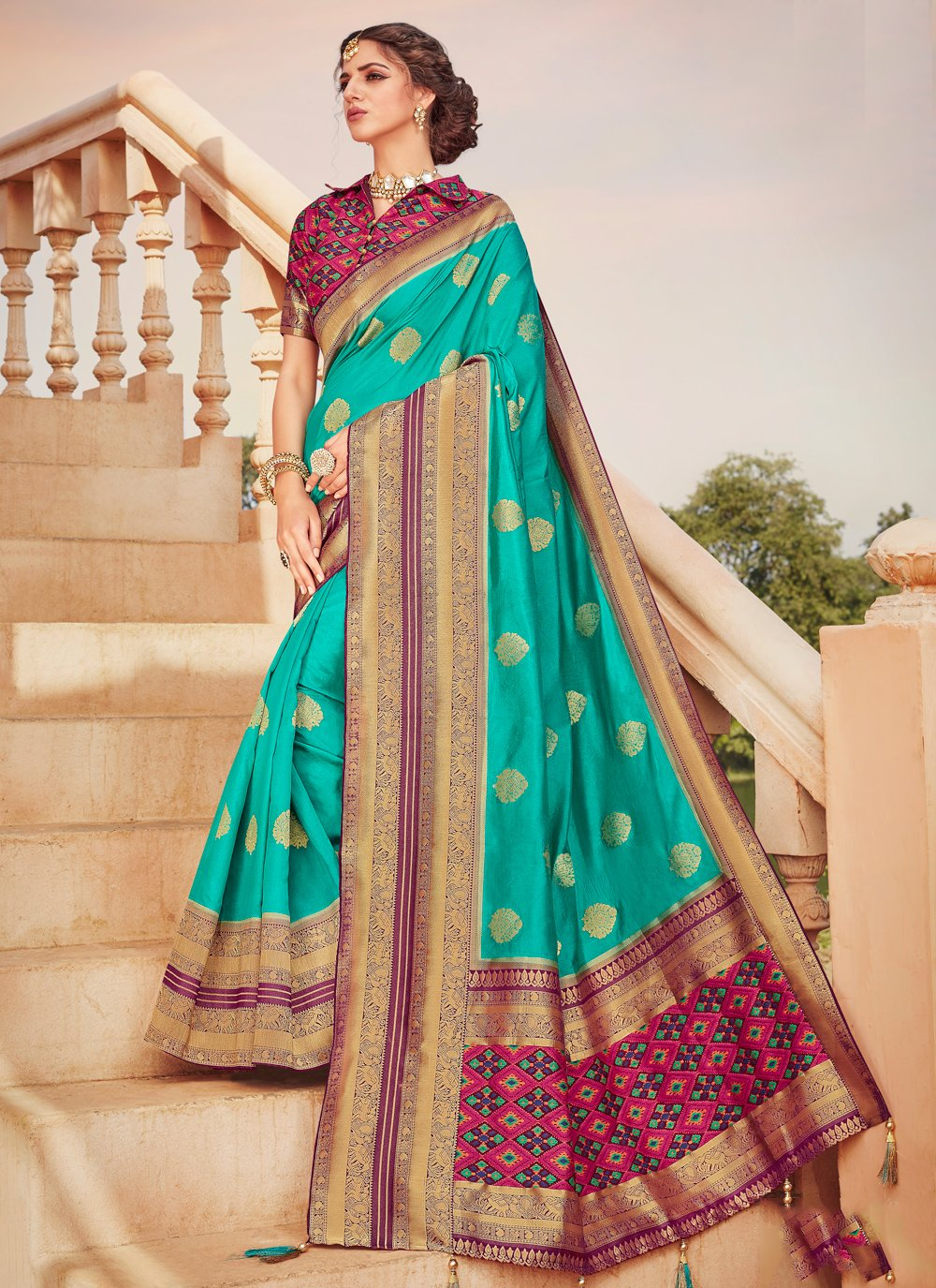 Weaving Aqua Blue Classic Saree