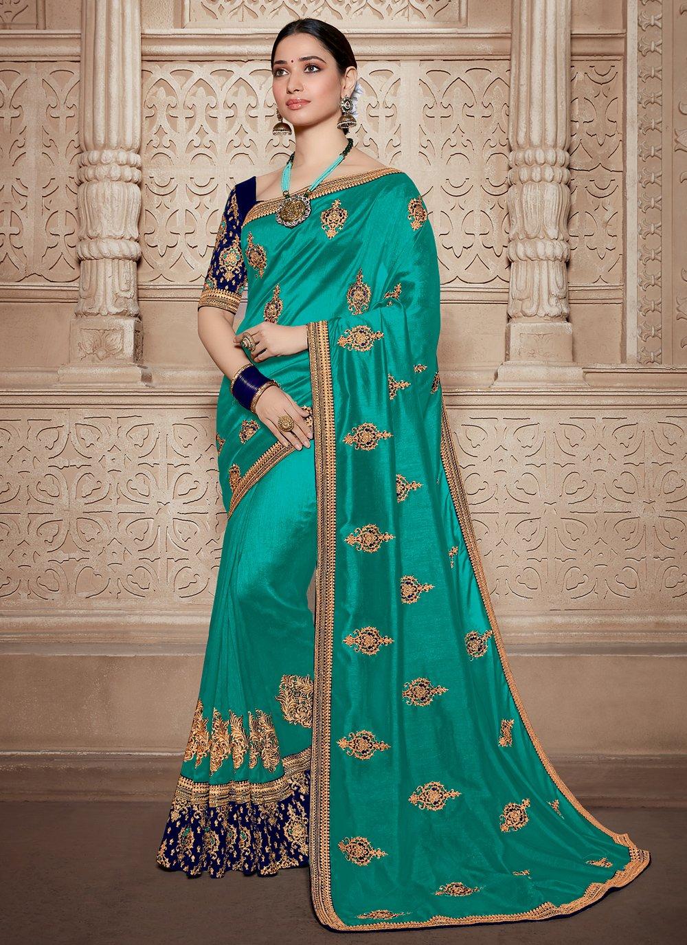 Weaving Aqua Blue Silk Contemporary Saree