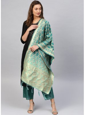 Weaving Art Banarasi Silk Designer Dupatta in Green
