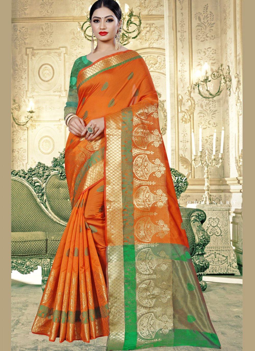 Weaving Art Banarasi Silk Designer Traditional Saree in Orange