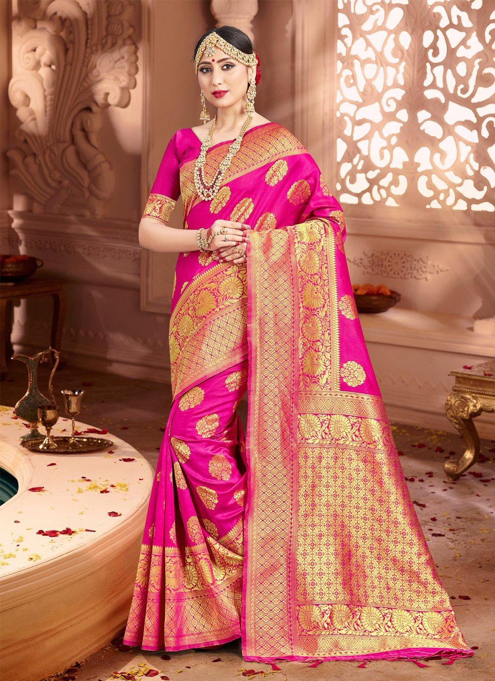 Weaving Art Banarasi Silk Pink Classic Saree