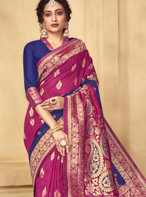 Weaving Art Raw Silk Designer Traditional Saree in Blue and Pink
