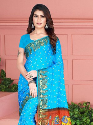 Weaving Art Silk Aqua Blue Silk Saree