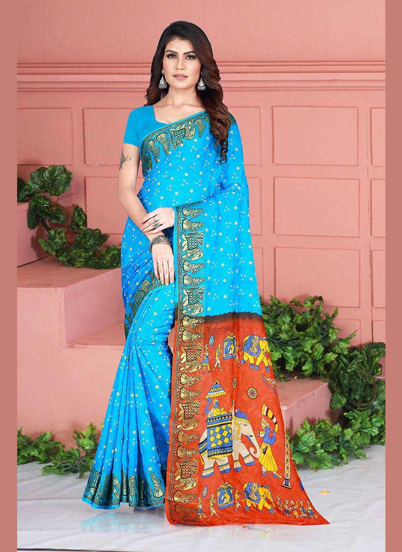 Weaving Art Silk Aqua Blue Silk Saree