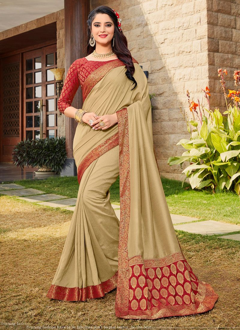 Weaving Art Silk Beige Designer Traditional Saree