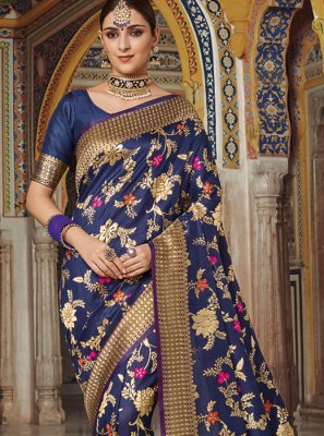 Weaving Art Silk Blue Traditional Saree
