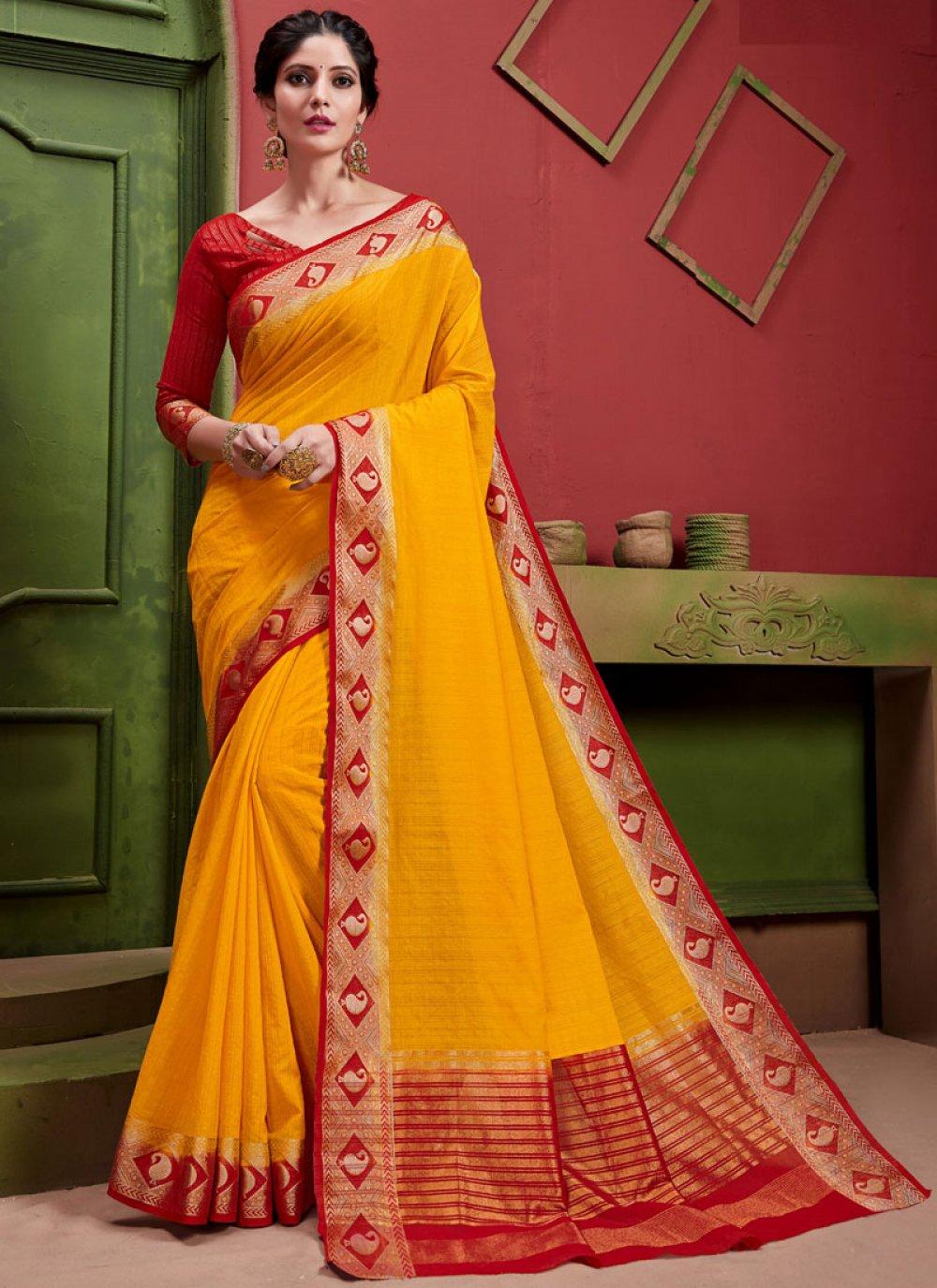 Weaving Art Silk Classic Saree in Yellow