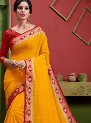 Weaving Art Silk Classic Saree in Yellow