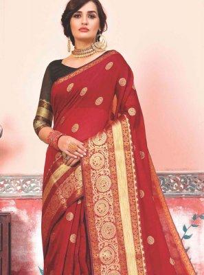 Weaving Art Silk Cotton Designer Traditional Saree in Red
