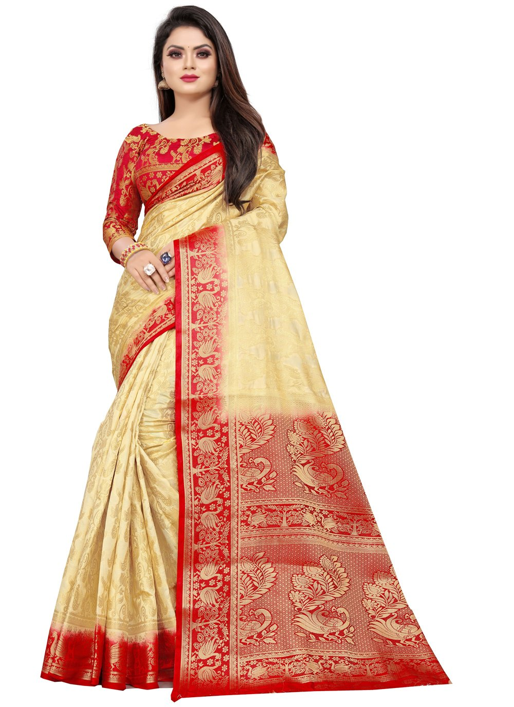 Weaving Art Silk Cream Classic Saree