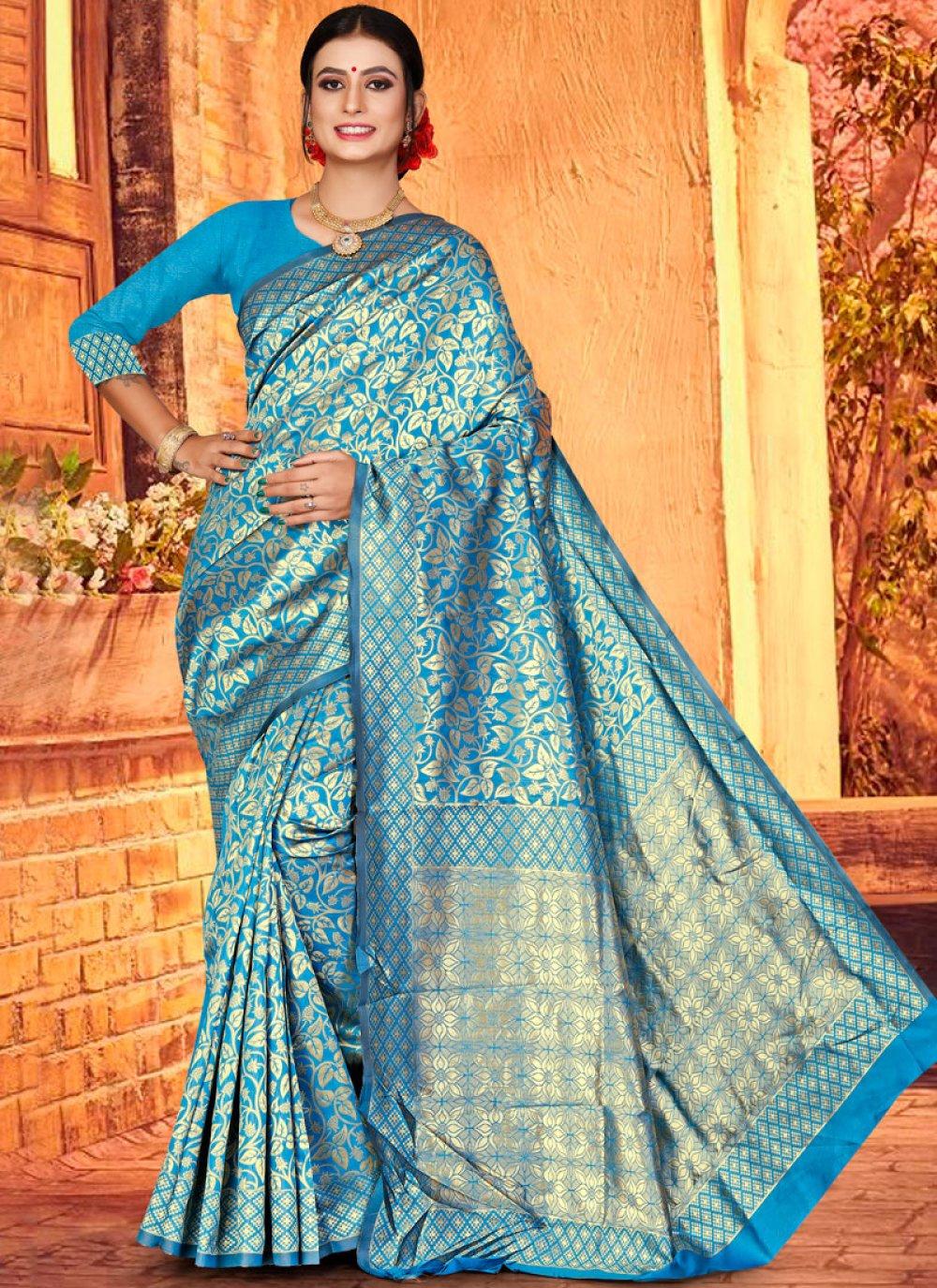 Weaving Art Silk Designer Traditional Saree in Firozi