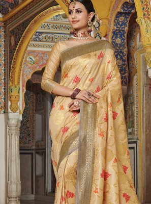Weaving Art Silk Designer Traditional Saree in Gold