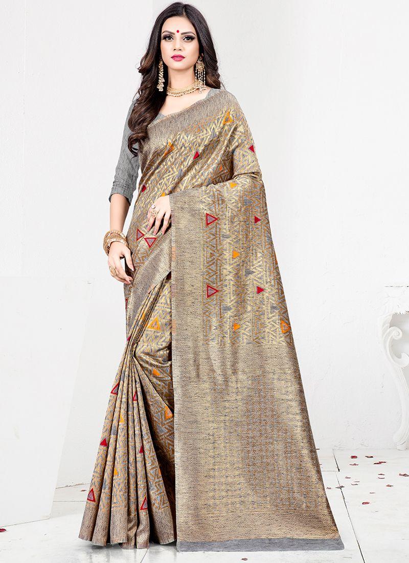 Weaving Art Silk Designer Traditional Saree in Grey