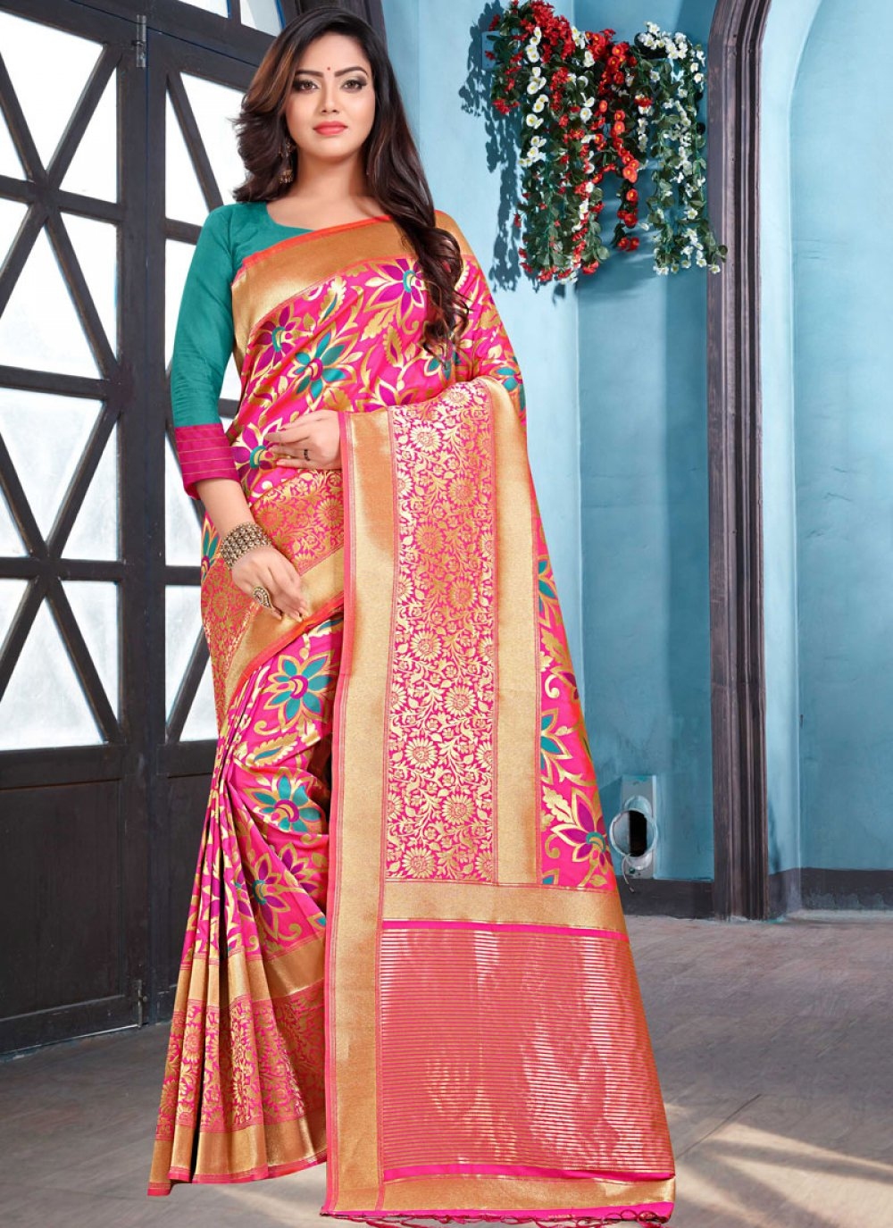 Weaving Art Silk Designer Traditional Saree in Pink